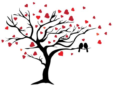 vector illustration of a love tree with red hearts and love birds.
