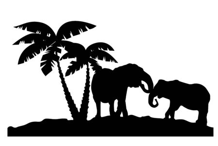 vector illustration of elephants couple near palm trees. animal, trees silhouettes. Иллюстрация