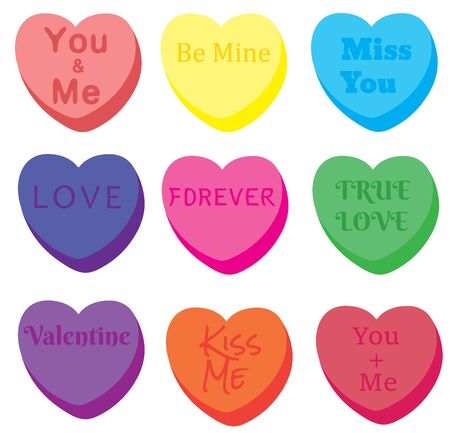 vector illustration of a set of abstract hearts with valentiens phrases. valentines background.