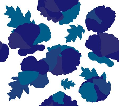 vector illustration of seamless blue flowers background. Blue flowers pattern. Phantom blue flowers with leaves.