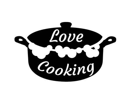 vector illustration of kitchen pot logo. Kitchen logo love cooking.