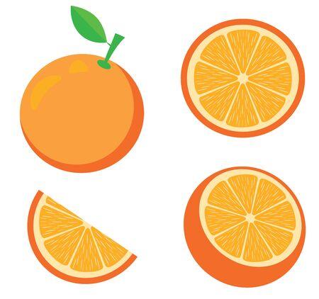vector illustration of an orange. Fruits, slices, oranges. Fresh fruit background isolated on white. Vektorgrafik