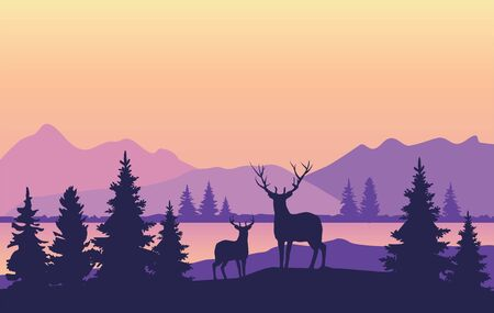 vector illustration of mountain background with trees, deer, lake.