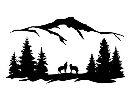 vector illustration of a wolf wilderness, nature background. animal world.