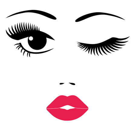 vector illustration of a pretty face, eyes, long lashes, red lips isolated on white background.