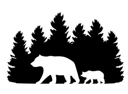 vector illustration of mama bear and baby bear with forest silhouette. animals, wilderness silhouette. animal silhouette. Vecteurs