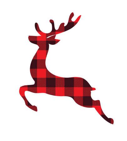 vector illustration of a buffalo plaid reindeer. Christmas decoration.