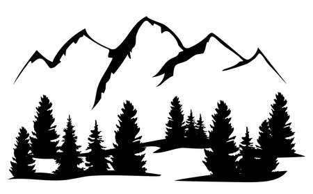 vector illustration of mountains and trees nature, outdoors background.