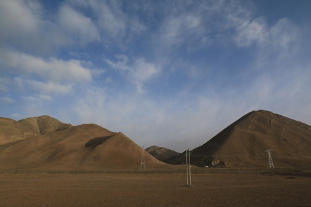 routing: Landscape from Train  Routing from Xining, China to Lhasa, Tibet  24 hours  Stock Photo
