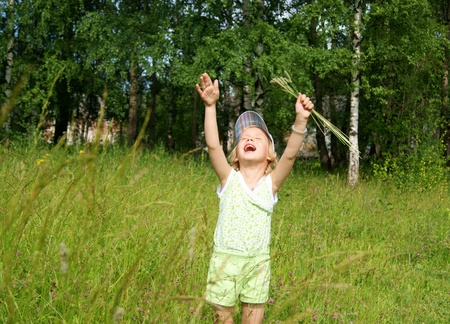 cries: Child cries at meadow