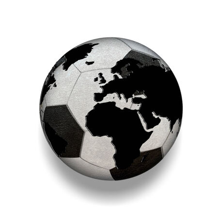 3D isolated Black and white soccer ball with world map, world photo