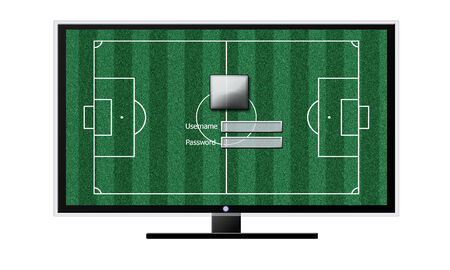 Soccer on TV concept isolated on white photo
