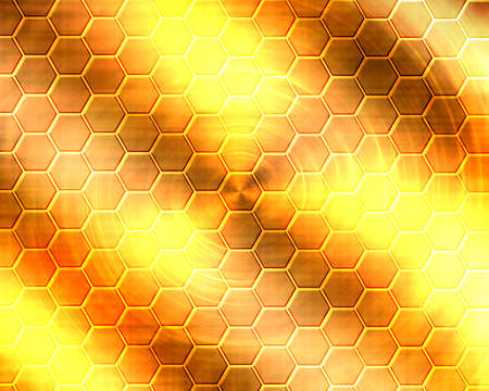 Golden metal surface Honeycomb-like Stock Photo