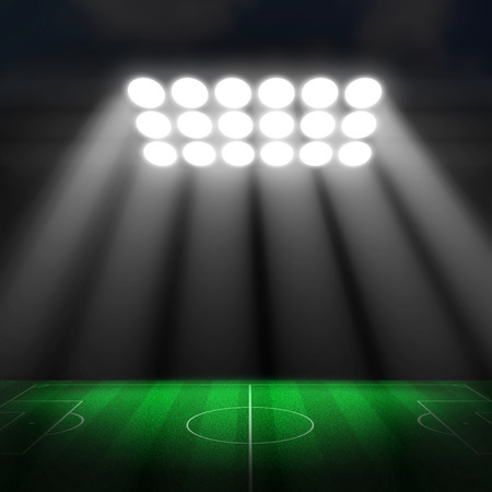 soccer stadium: Soccer stadium, soccer ball on green stadium