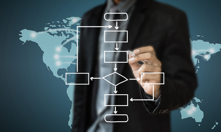 business man writing concept of business process improve Stockfoto
