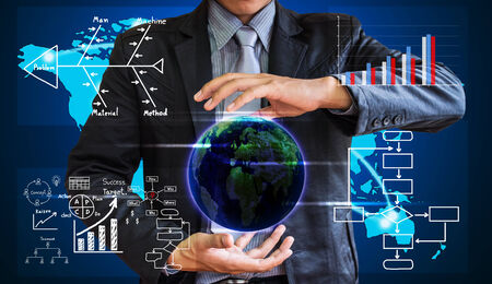 business man writing concept of business process improve Stock Photo