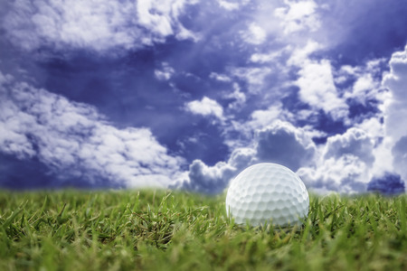 golf-ball on course and sky