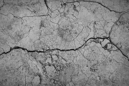 Gray cracked concrete texture background, close up