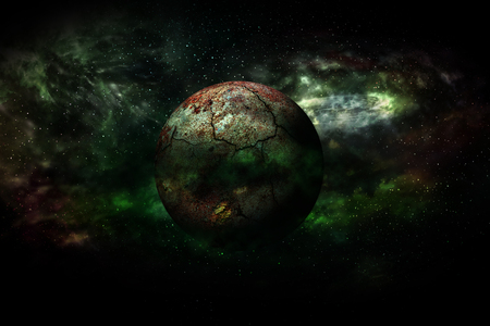 Earth burning after a global disaster (Elements of this 3d rendered image furnished by NASA)