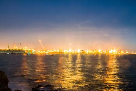 morning blue hour: Harbor transport industry Stock Photo
