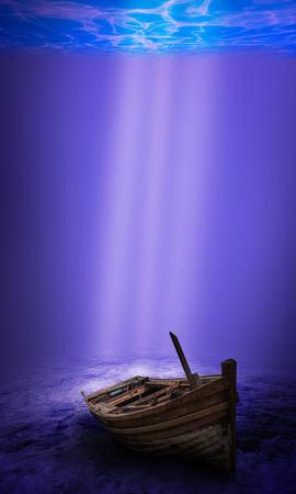 scuba diver: Scuba diver exploring a sunken underwater shipwreck Stock Photo