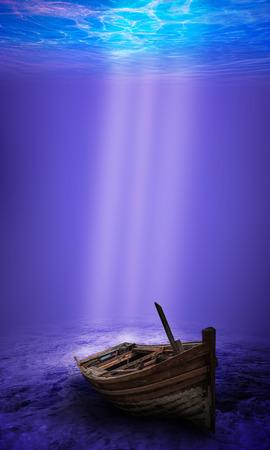 superstructure: Scuba diver exploring a sunken underwater shipwreck Stock Photo