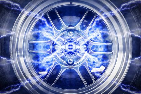 tire cover: Abstract High Power Wheels Lightning