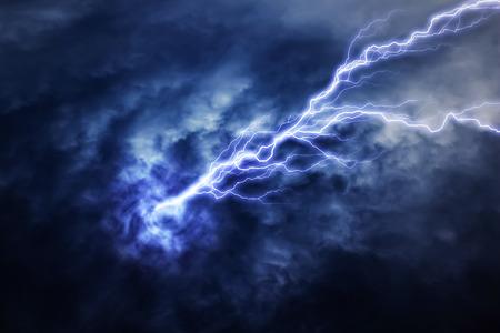 thundershower: lightning strike during an electrical storm