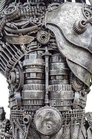 背景金属鋼歯車ロボット 写真素材