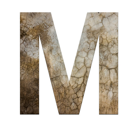 cracked cement: m letter cracked cement texture isolate