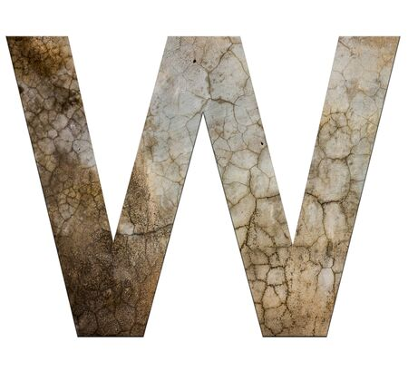 cracked cement: w letter cracked cement texture isolate