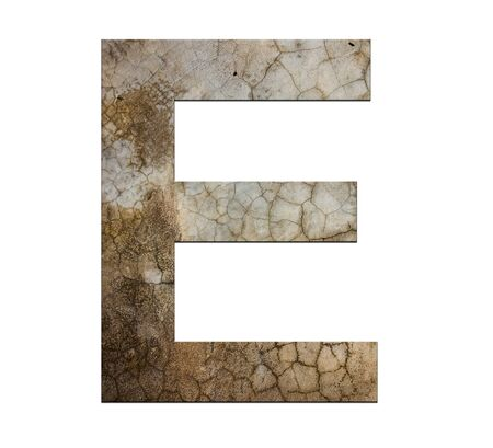 e ink: e letter cracked cement texture isolate Stock Photo