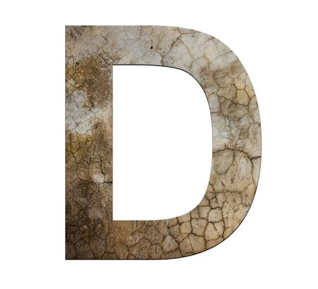 d: d letter cracked cement texture isolate