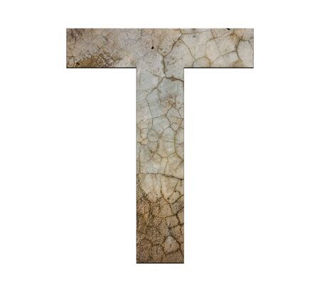 cracked cement: t letter cracked cement texture isolate Stock Photo