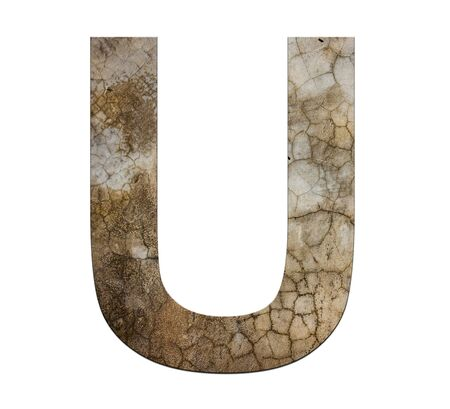 cracked cement: u letter cracked cement texture isolate