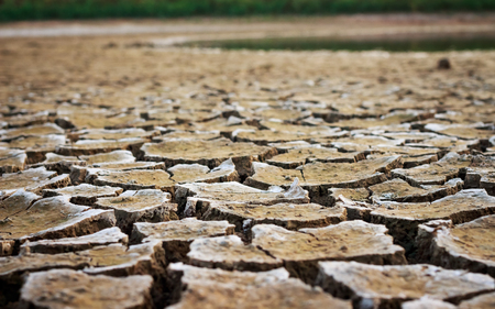 Climate change, the ground is dry, drought, cracked ground Stock Photo