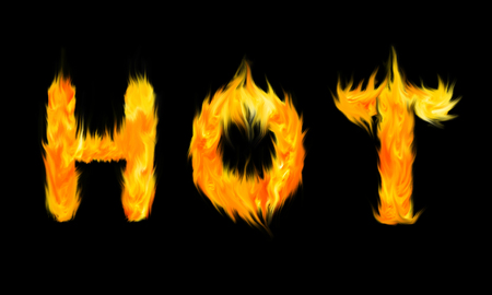 the hot: HOT fire letters Stock Photo