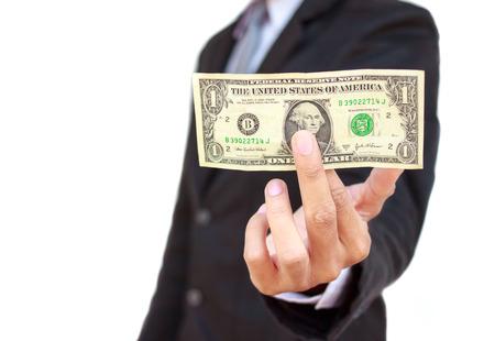 show bill: 1 USD un hombre de negocios que sostiene un fondo blanco. Foto de archivo