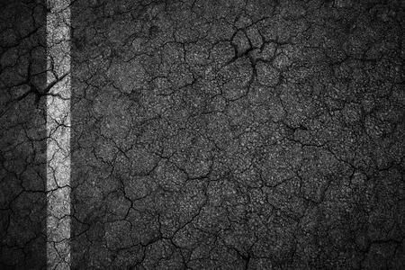 botch: Old crack asphalt road with white lines Stock Photo