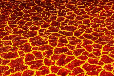 volcano mountain top exploding: heat red cracked ground texture after eruption volcano