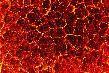 火山噴火後熱赤割れた地面テクスチャ