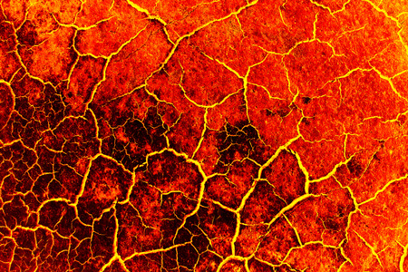 chapped: heat red cracked ground texture after eruption volcano