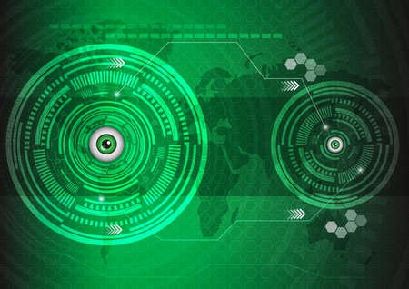 green technology: Eyes abstract technology innovation template background