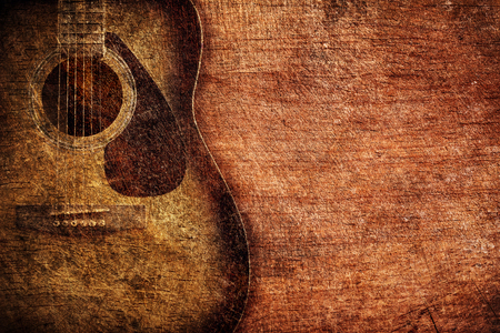 wood staves: Guitar on wooden background vintage Stock Photo