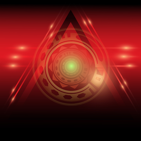 Red and black poster with pyramid and eye Stock Photo