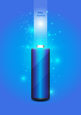 scintillate: Electric battery energy, illustration, blue Light Abstract Technology background for computer graphic website internet.