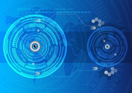 hi fi system: Eyes abstract technology innovation template background