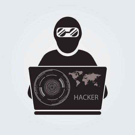 anonymity: Icon of hacker with big laptop.