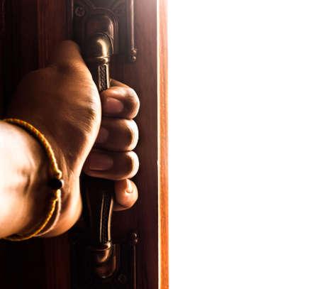 opens: hand opens empty room door