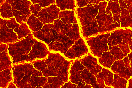 overheated: heat red cracked ground texture after eruption volcano